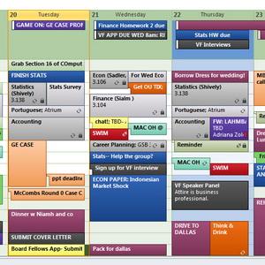 Заполненный календарь outlook